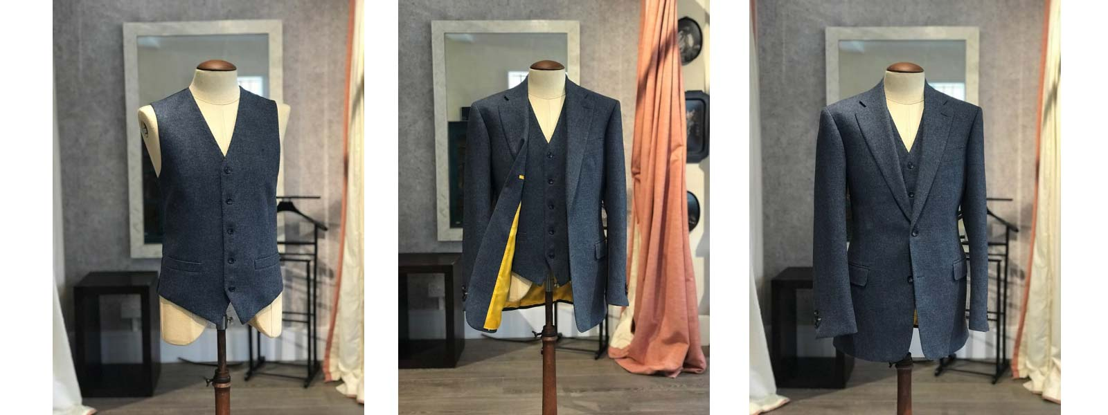 blue suit bespoke made to measure tailor london