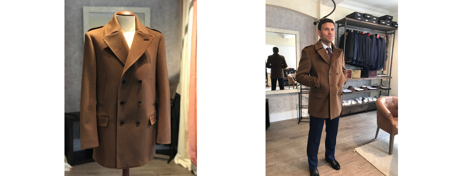 brown overcoat bespoke made to measure tailor london